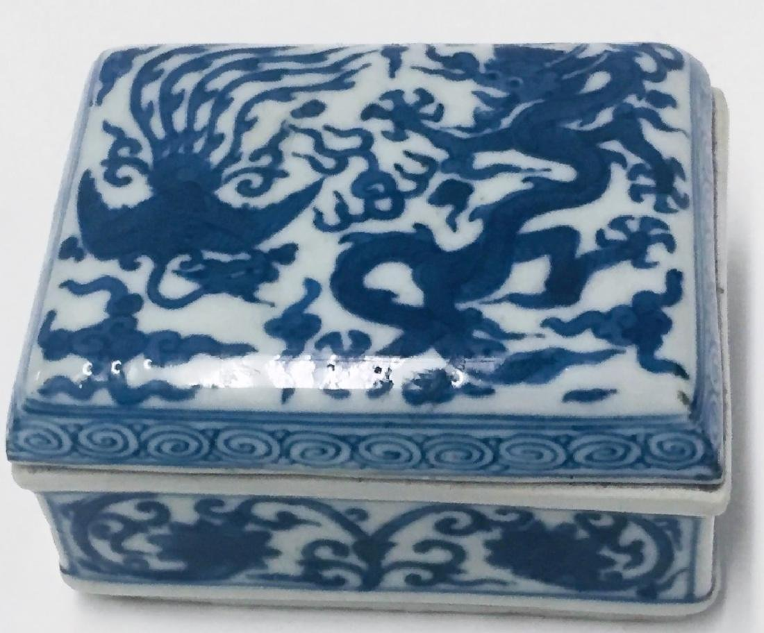 Chinese Blue & White Porcelain Dragon Phoenix Box - 2