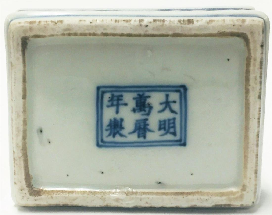 Chinese Blue & White Porcelain Dragon Phoenix Box - 4