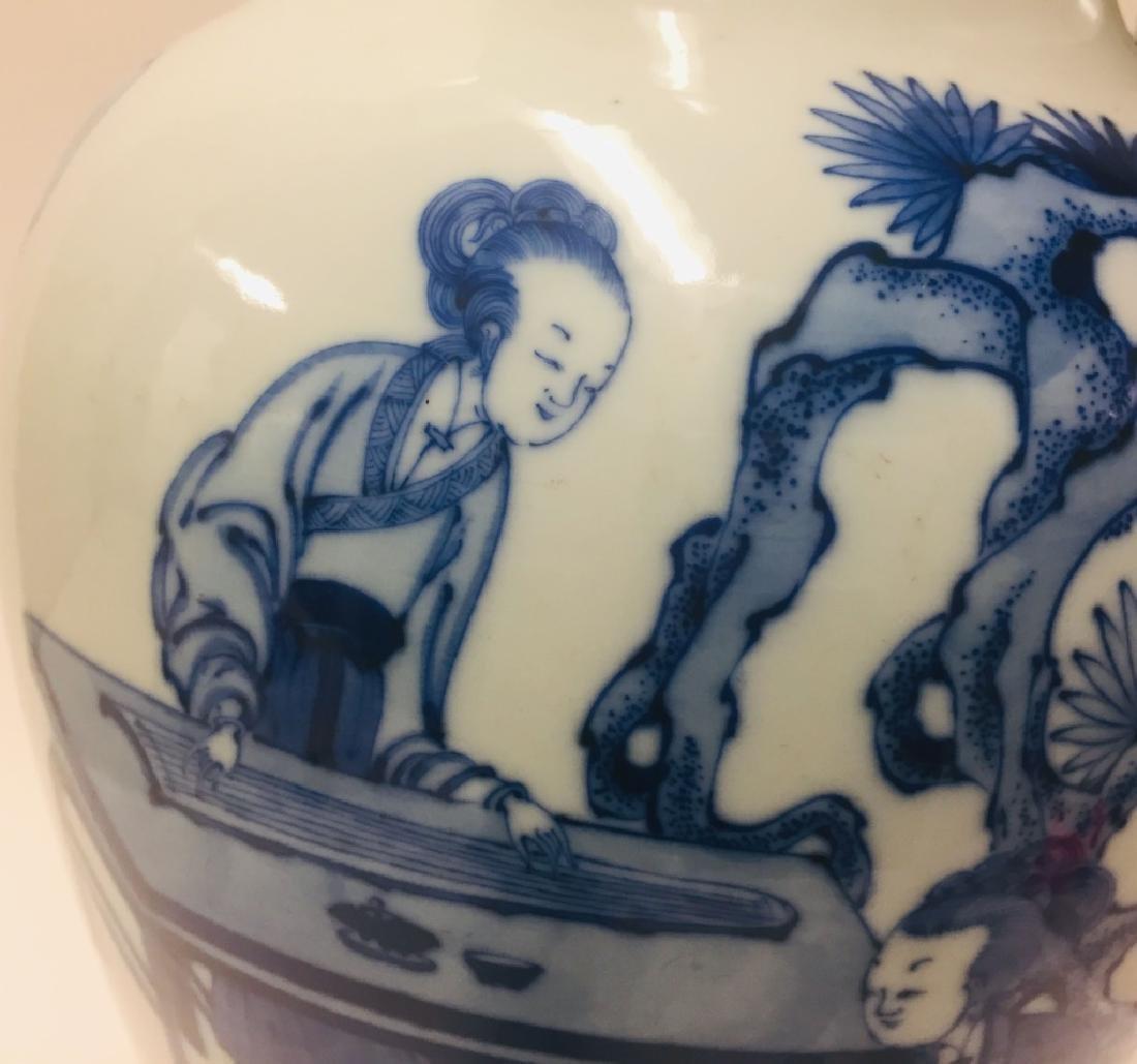 Chinese Blue & White Porcelain Geisha Vase - 3