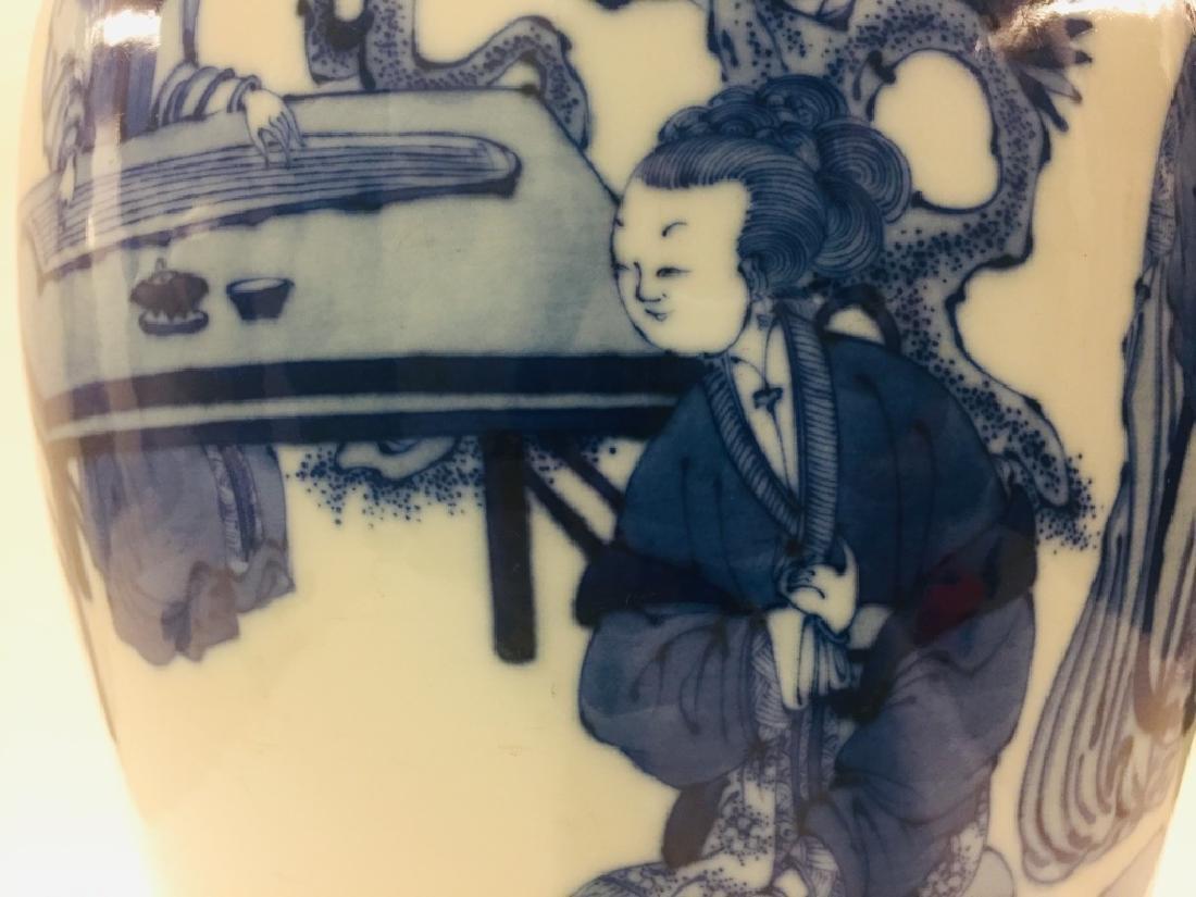 Chinese Blue & White Porcelain Geisha Vase - 4