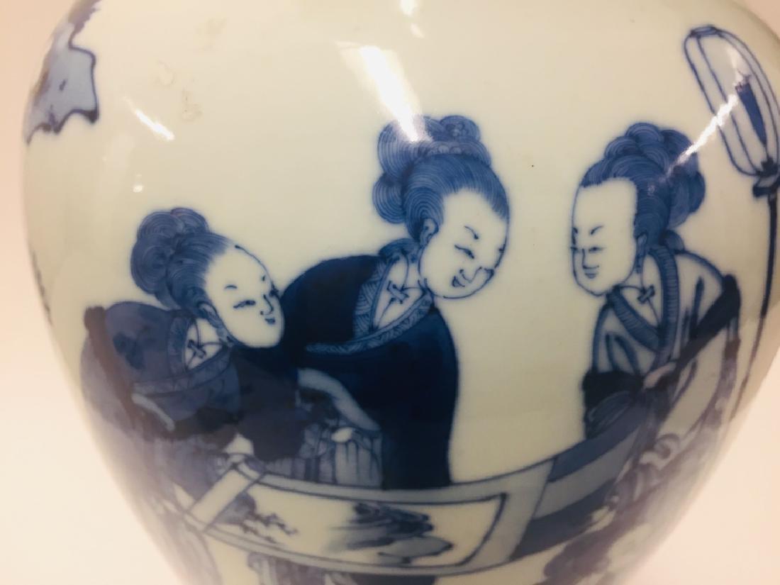 Chinese Blue & White Porcelain Geisha Vase - 5