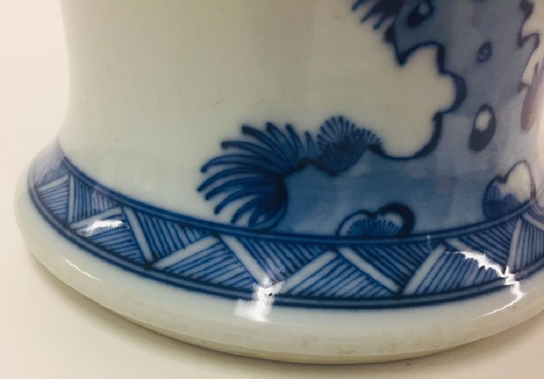 Chinese Blue & White Porcelain Geisha Vase - 6