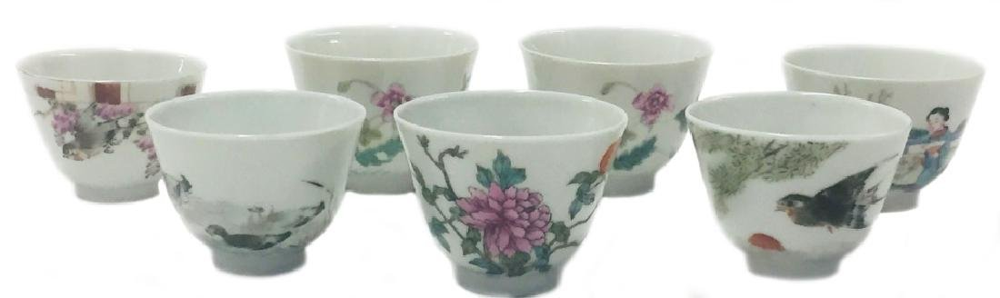 Seven Chinese Famille Rose Porcelain Wine Cups