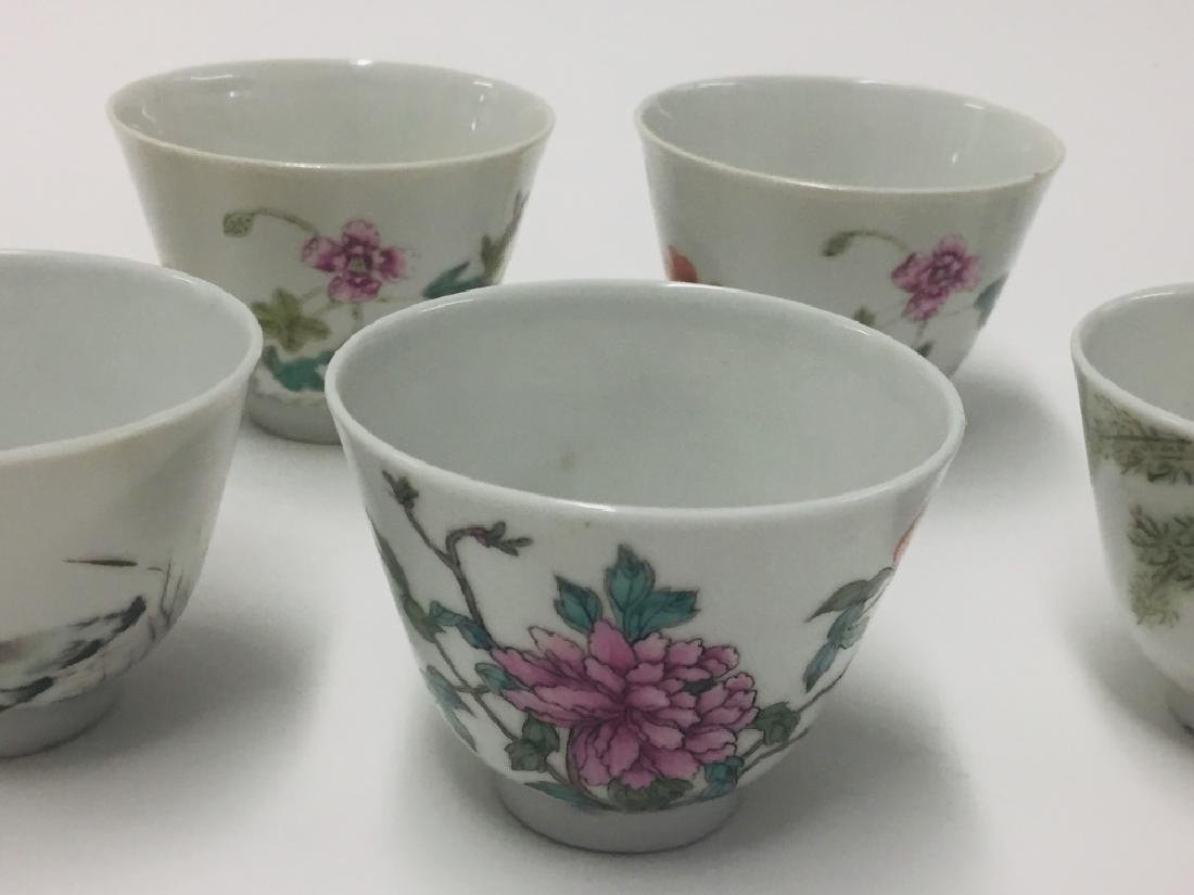 Seven Chinese Famille Rose Porcelain Wine Cups - 2
