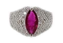 Platinum 2.02 CT Marquise Ruby & Diamond Ring