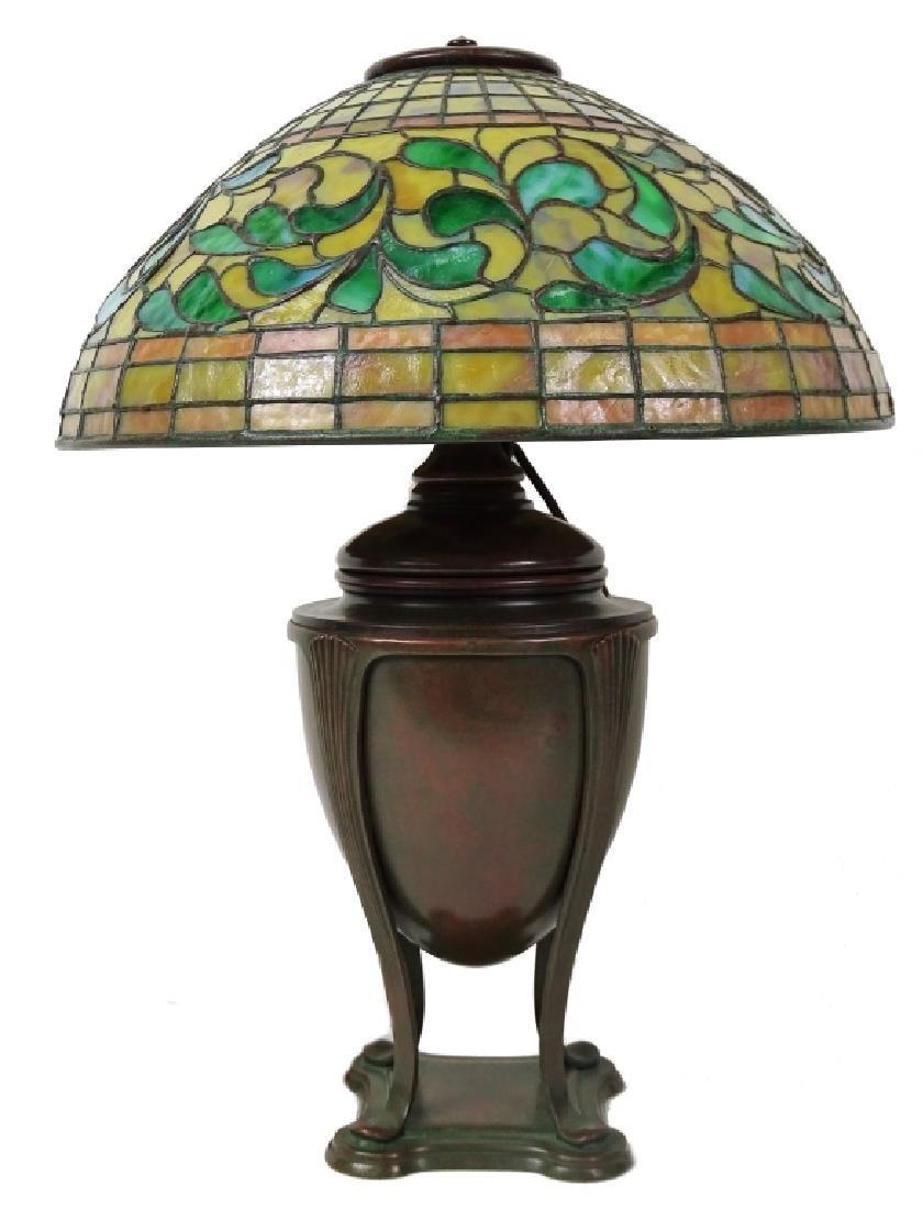 Tiffany Studios Swirling Lead Glass Bronze Lamp