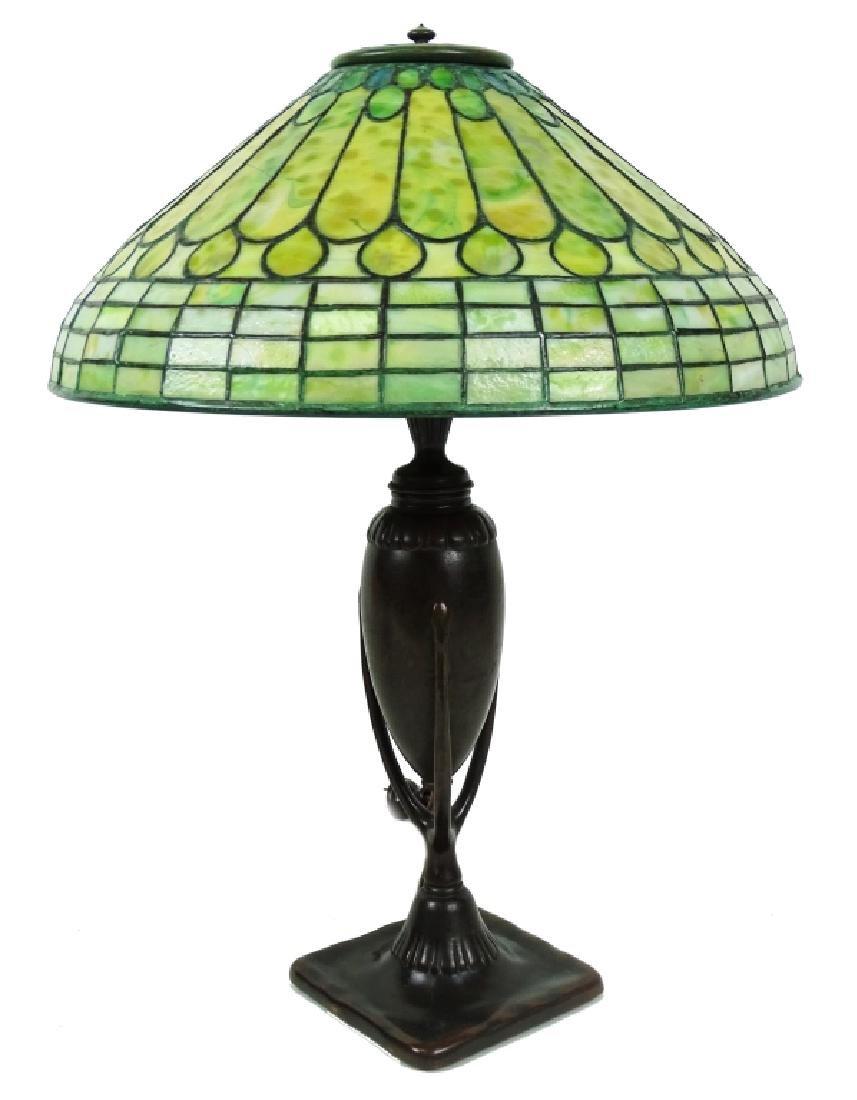 Tiffany Studios Roman Leaded Glass Bronze Lamp