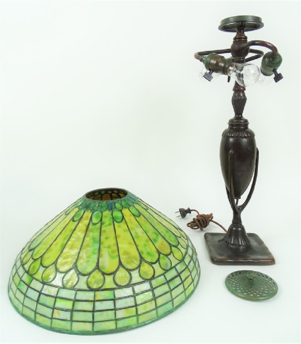 Tiffany Studios Roman Leaded Glass Bronze Lamp - 8