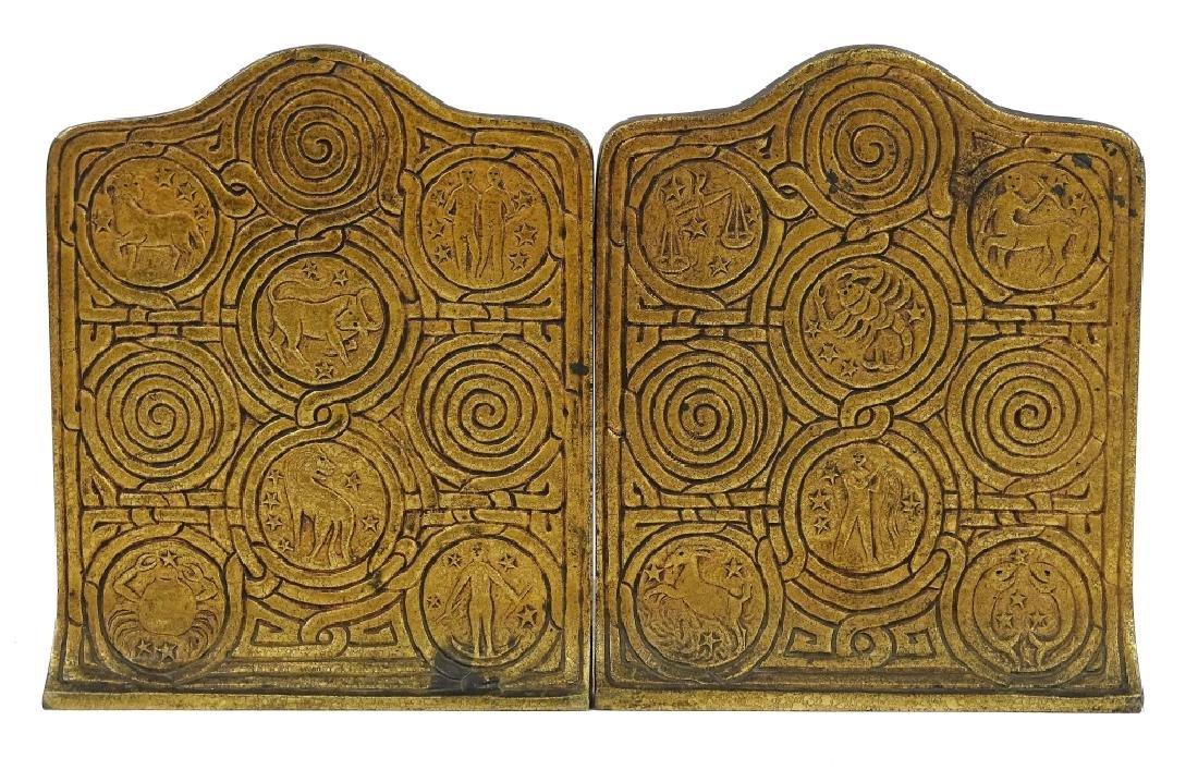 Pair of Tiffany Studios Zodiac Bronze Bookends