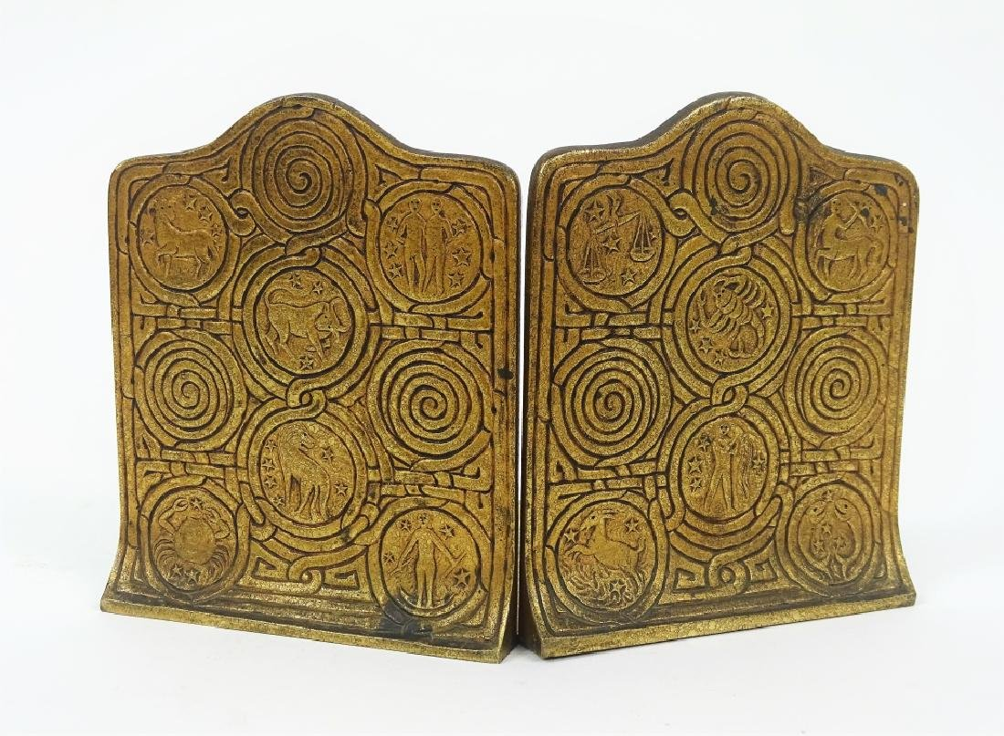 Pair of Tiffany Studios Zodiac Bronze Bookends - 2