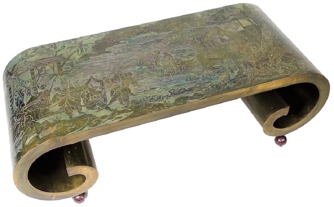 Philip & Kelvin LaVerne Bronze Scroll Coffee Table