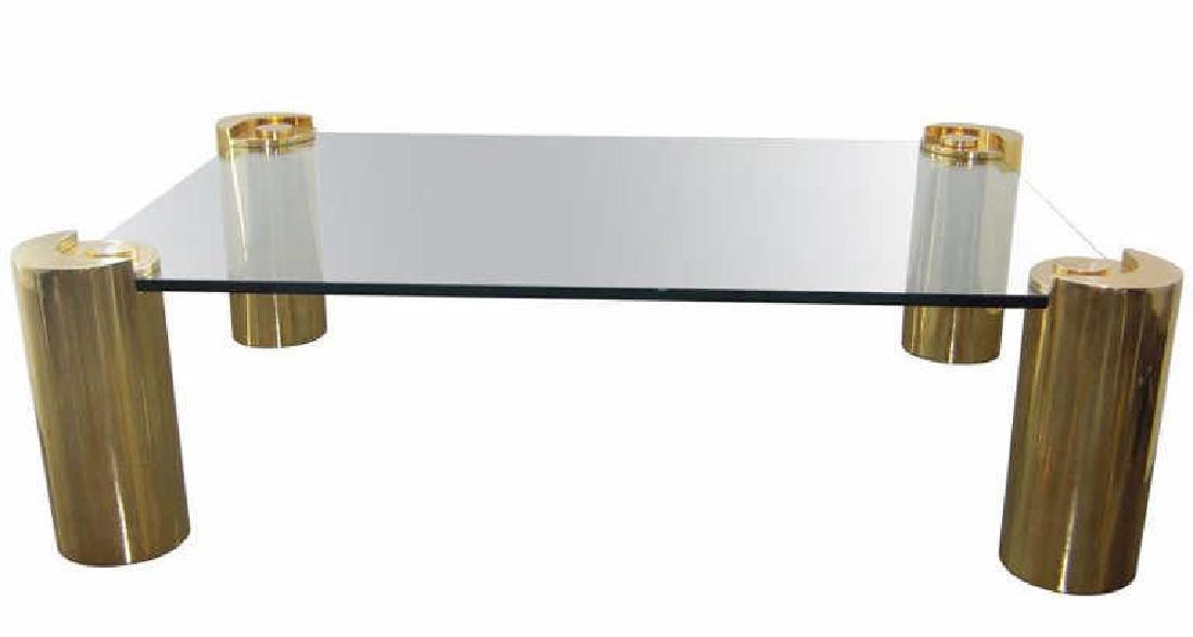 Attirant Large Karl Springer Brass U0026 Glass Coffee Table