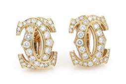 Cartier 18k Gold 2.24ct Diamond Double CC Earrings