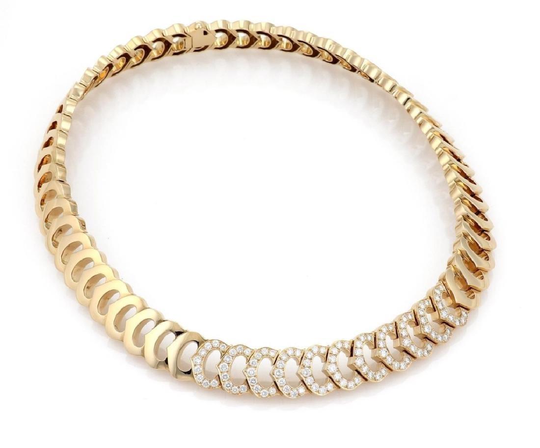 Cartier C Logo 2.75ct Diamond 18k Gold Necklace