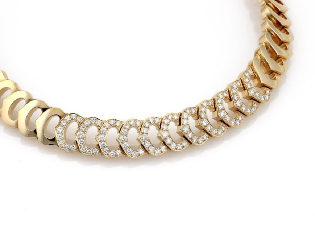 Cartier C Logo 2.75ct Diamond 18k Gold Necklace - 2