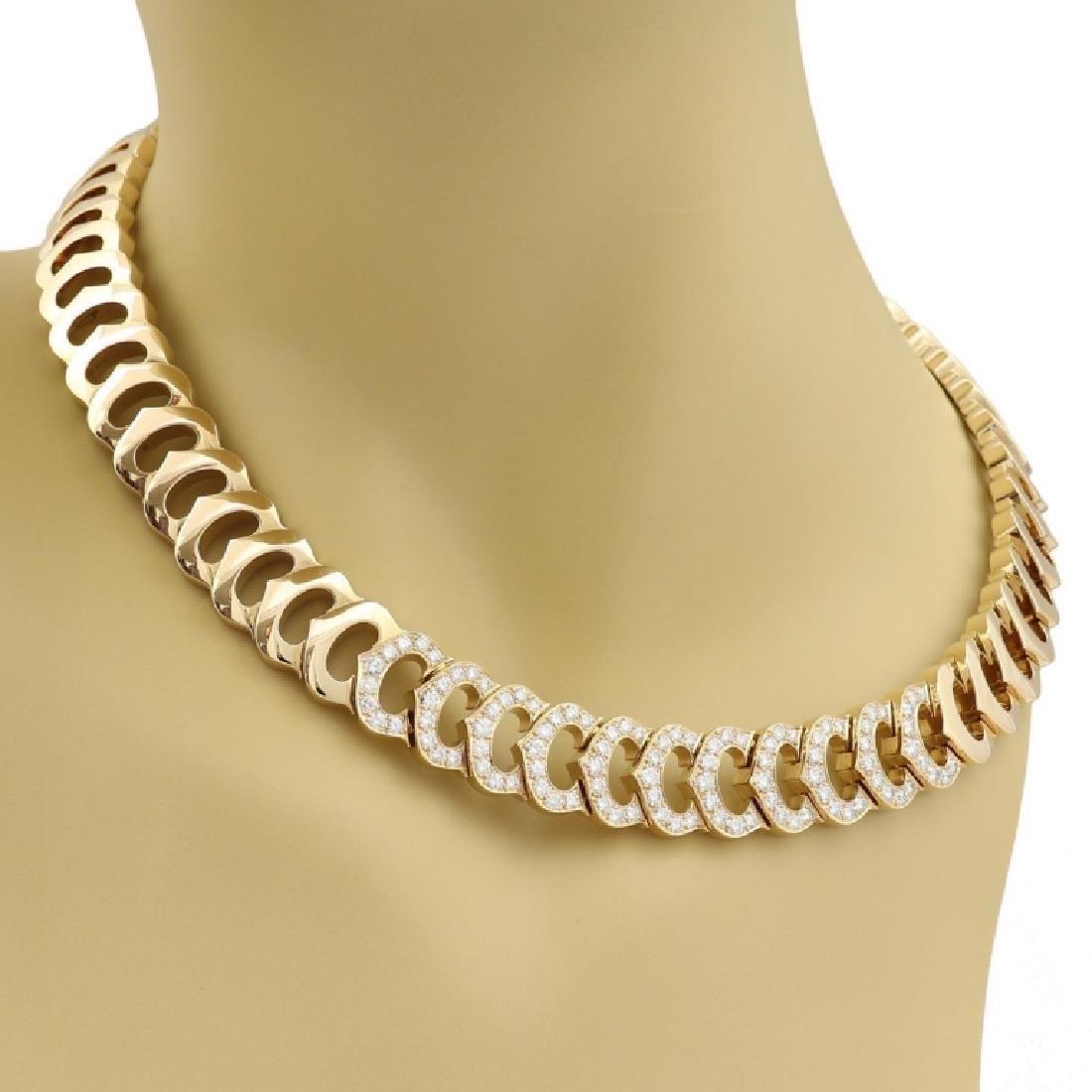 Cartier C Logo 2.75ct Diamond 18k Gold Necklace - 4