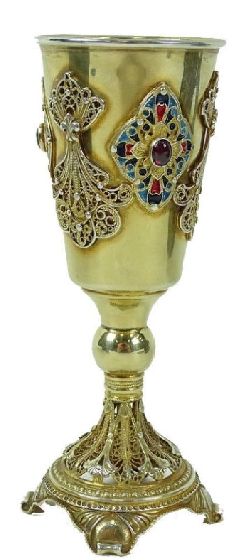 Vintage Hand Made Gilt Silver kiddush Cup
