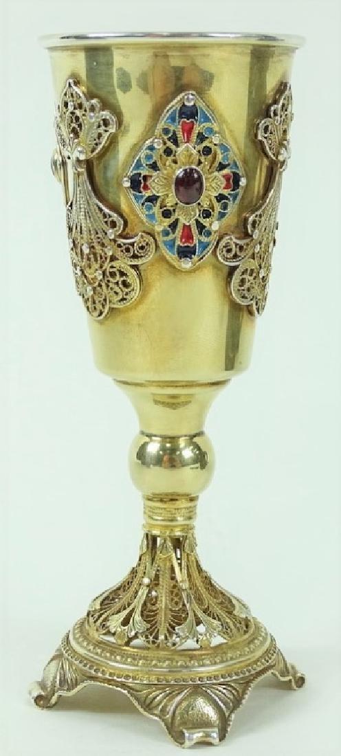 Vintage Hand Made Gilt Silver kiddush Cup - 2