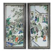 19th C. Chinese Famille Verte Porcelain Plaques