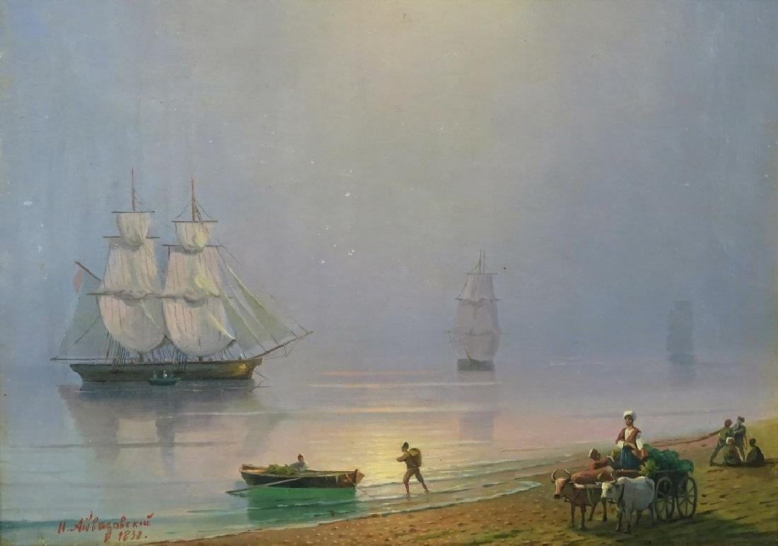 Attrib. to Ivan Aivazovsky Seascape Oil Painting - 2