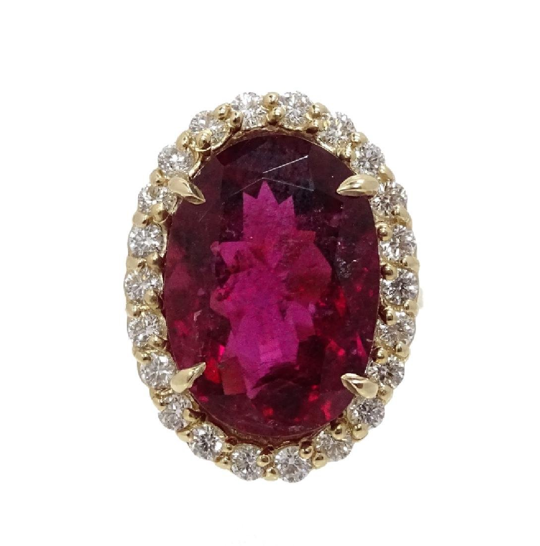 14K Gold 16.27ct Ruby & 1.50ct Diamond Ring