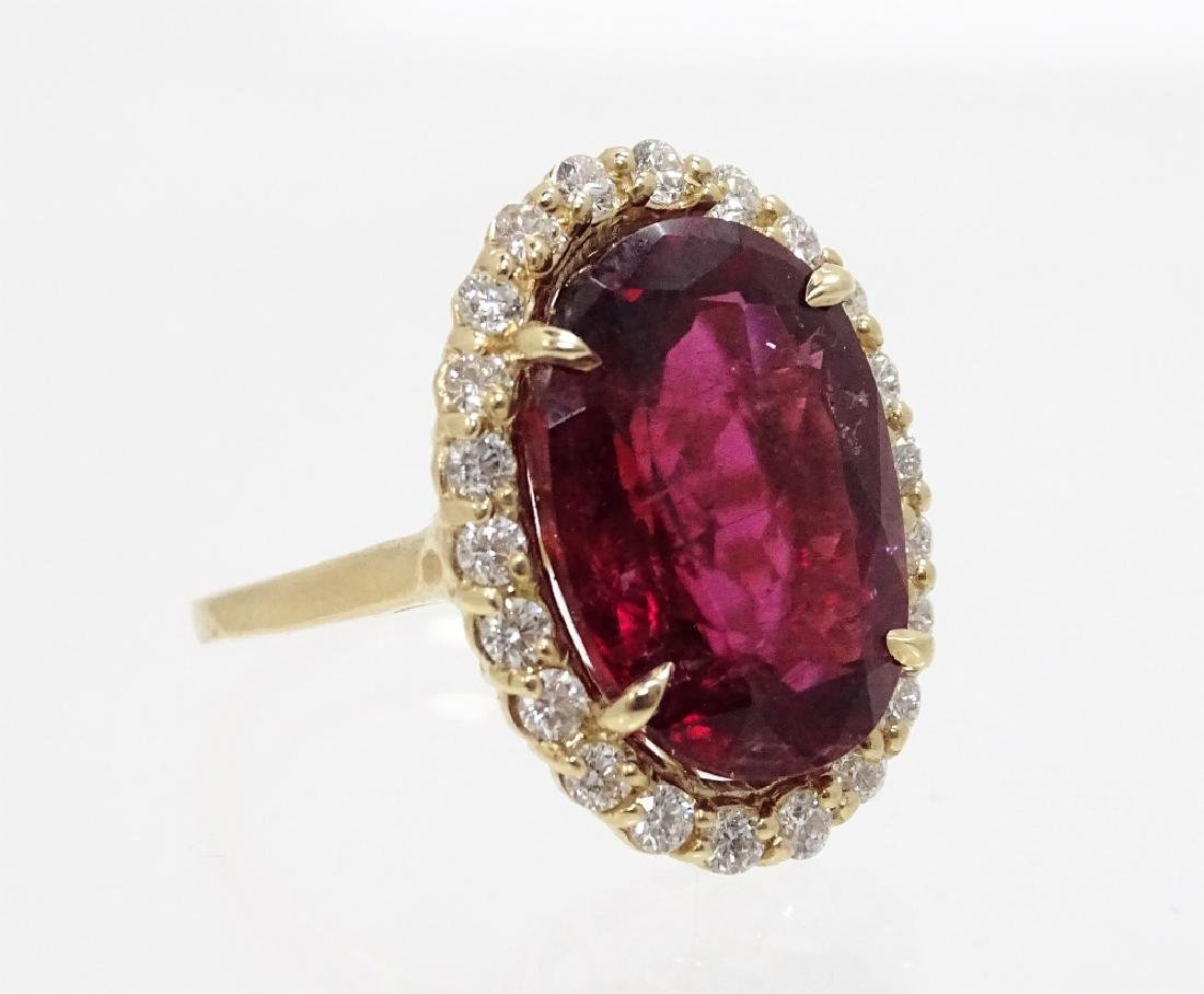 14K Gold 16.27ct Ruby & 1.50ct Diamond Ring - 2