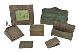 7pc Tiffany Studios Zodiac Bronze Desk Set