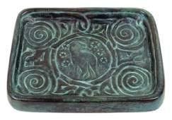 Rare Tiffany Studios Zodiac Bronze Tray 976