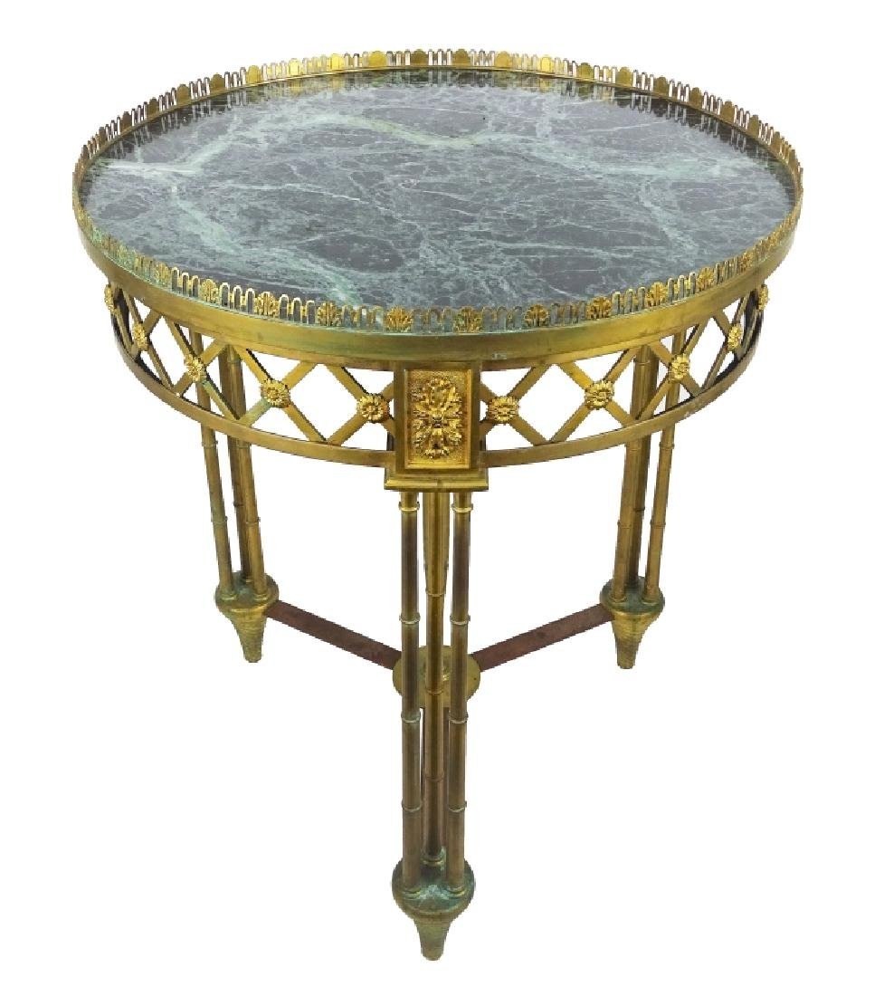 French Charles X Style Bronze & Marble End Table