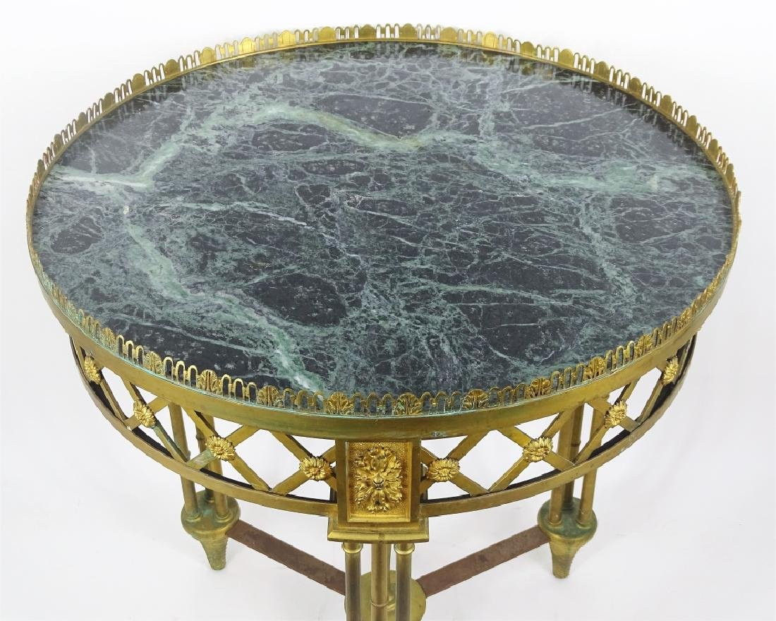French Charles X Style Bronze & Marble End Table - 2