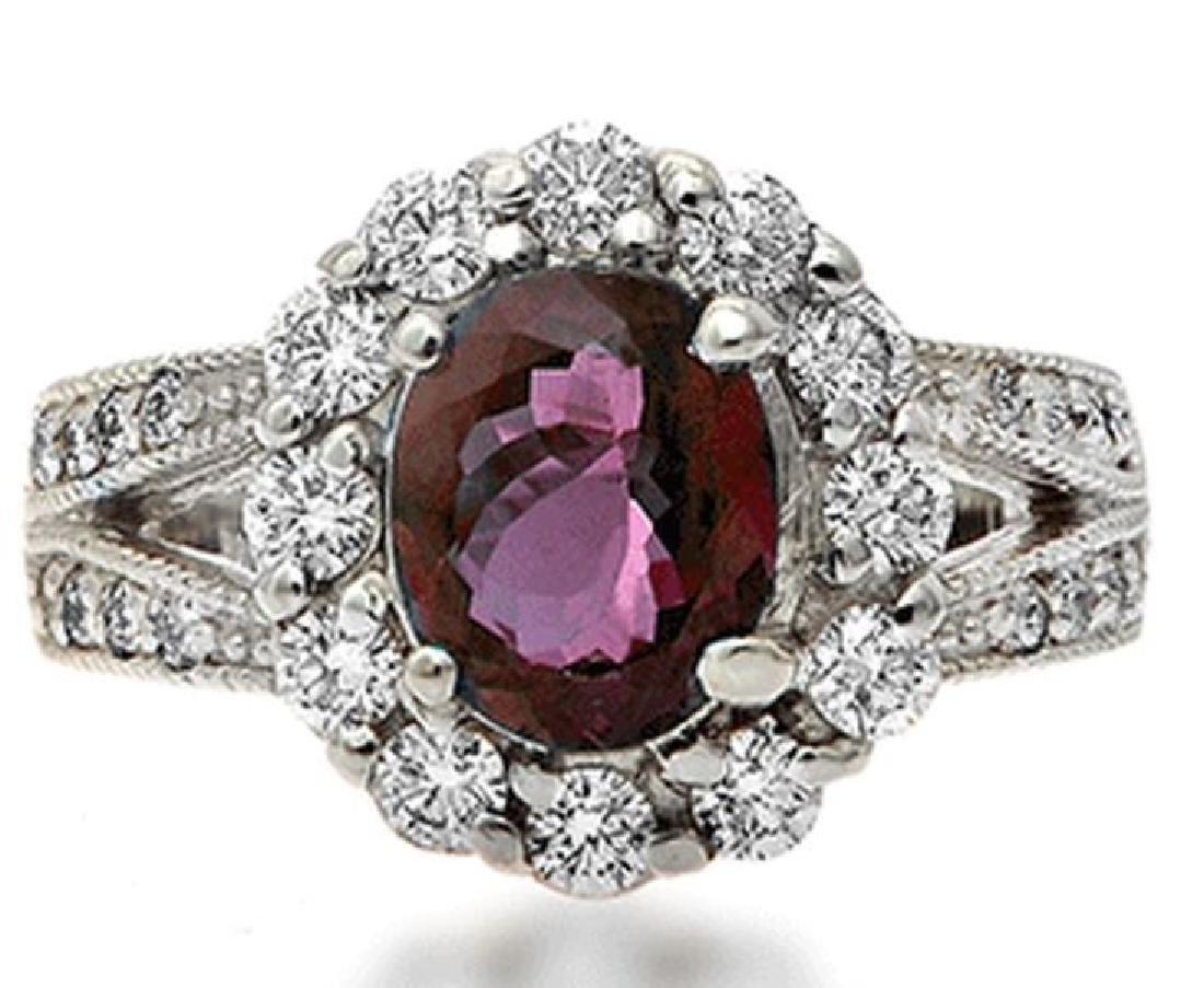 18k White Gold 2.88ct Alexandrite Diamond Ring