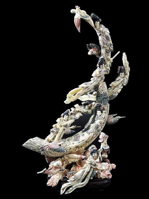 Chinese Carved Bone Geisha Village Sculpture Jan 28 2019 Joshua Kodner In Fl