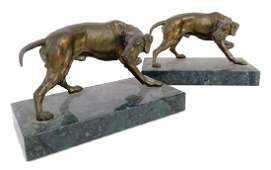Jennings Brothers Bronze Hunting Dog Book Ends