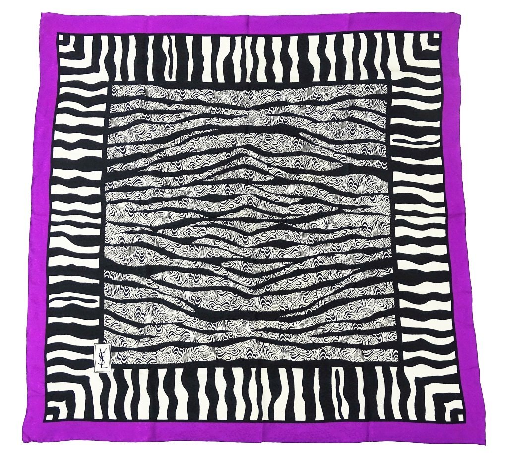 Yves Saint Laurent Zebra Print Silk Scarf