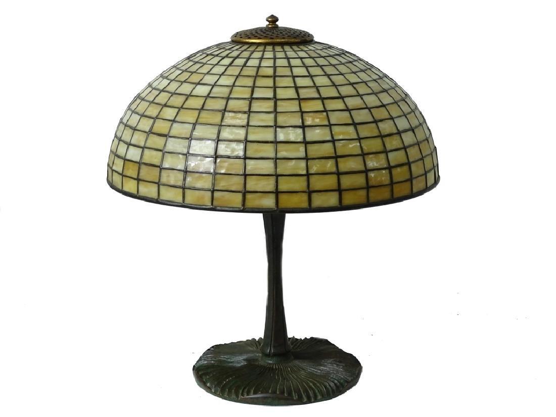 Tiffany Studios New York bronze mushroom table lam