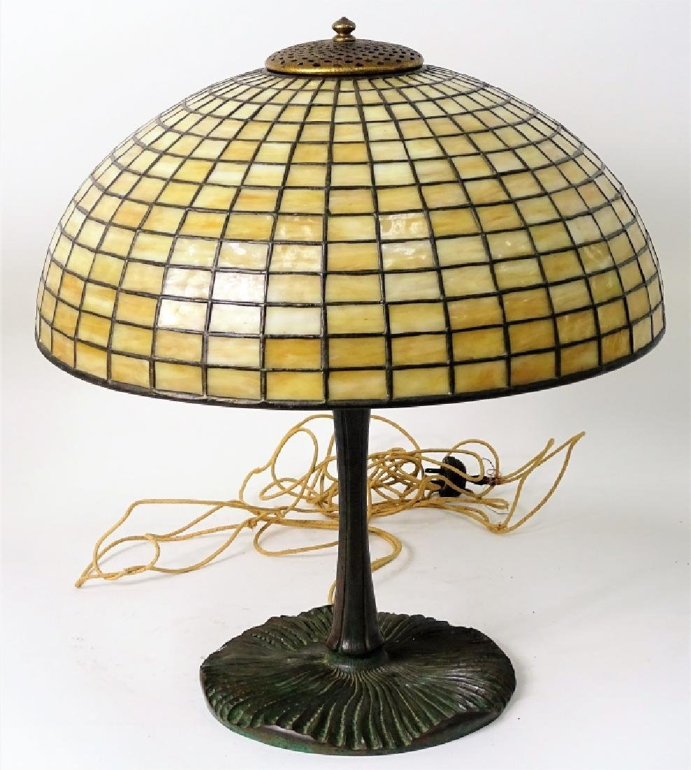 Tiffany Studios New York bronze mushroom table lam - 2