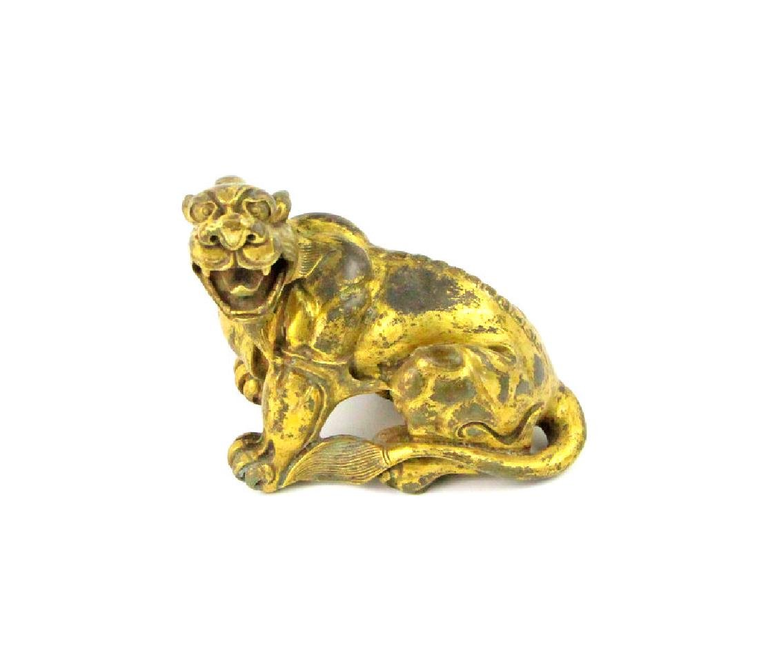 Chinese Lion Statue In Gold-Smelting Craft