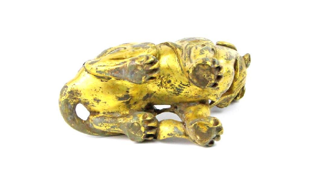 Chinese Lion Statue In Gold-Smelting Craft - 3