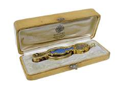 Faberge Gold And Blue Enamel Jeweled Lornet