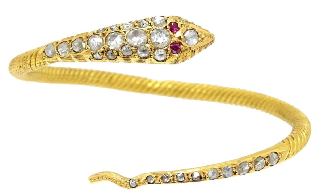 22 Karat Coil Snake Diamond Bangle Bracelet