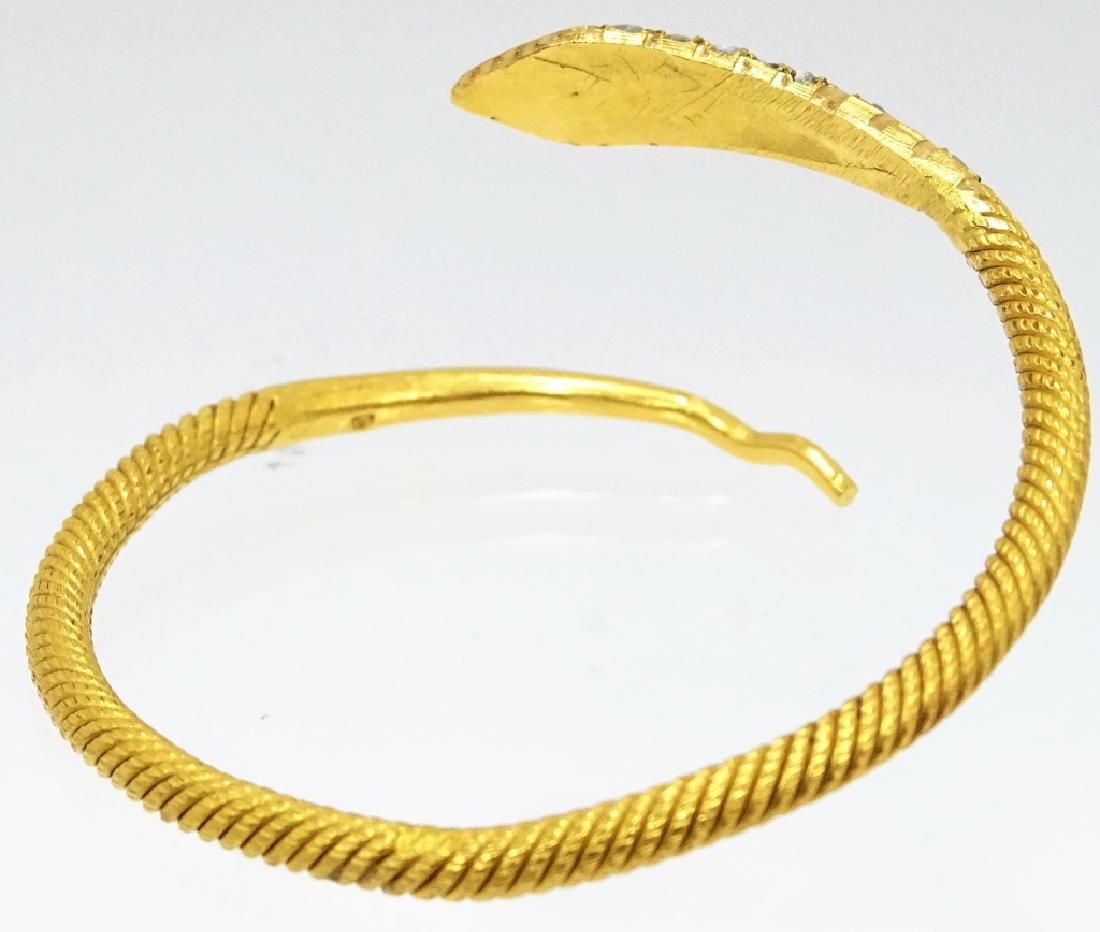 22 Karat Coil Snake Diamond Bangle Bracelet - 2