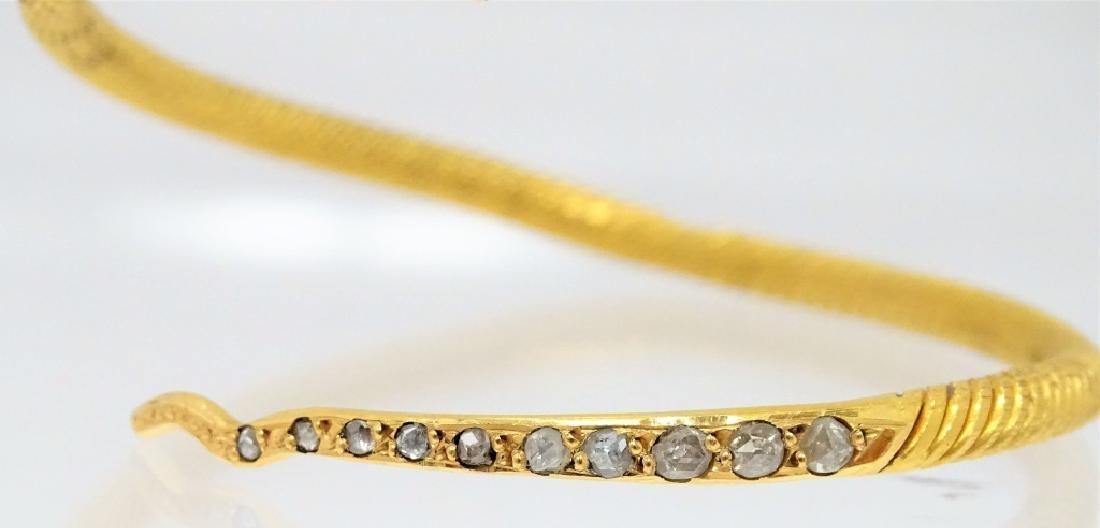 22 Karat Coil Snake Diamond Bangle Bracelet - 3