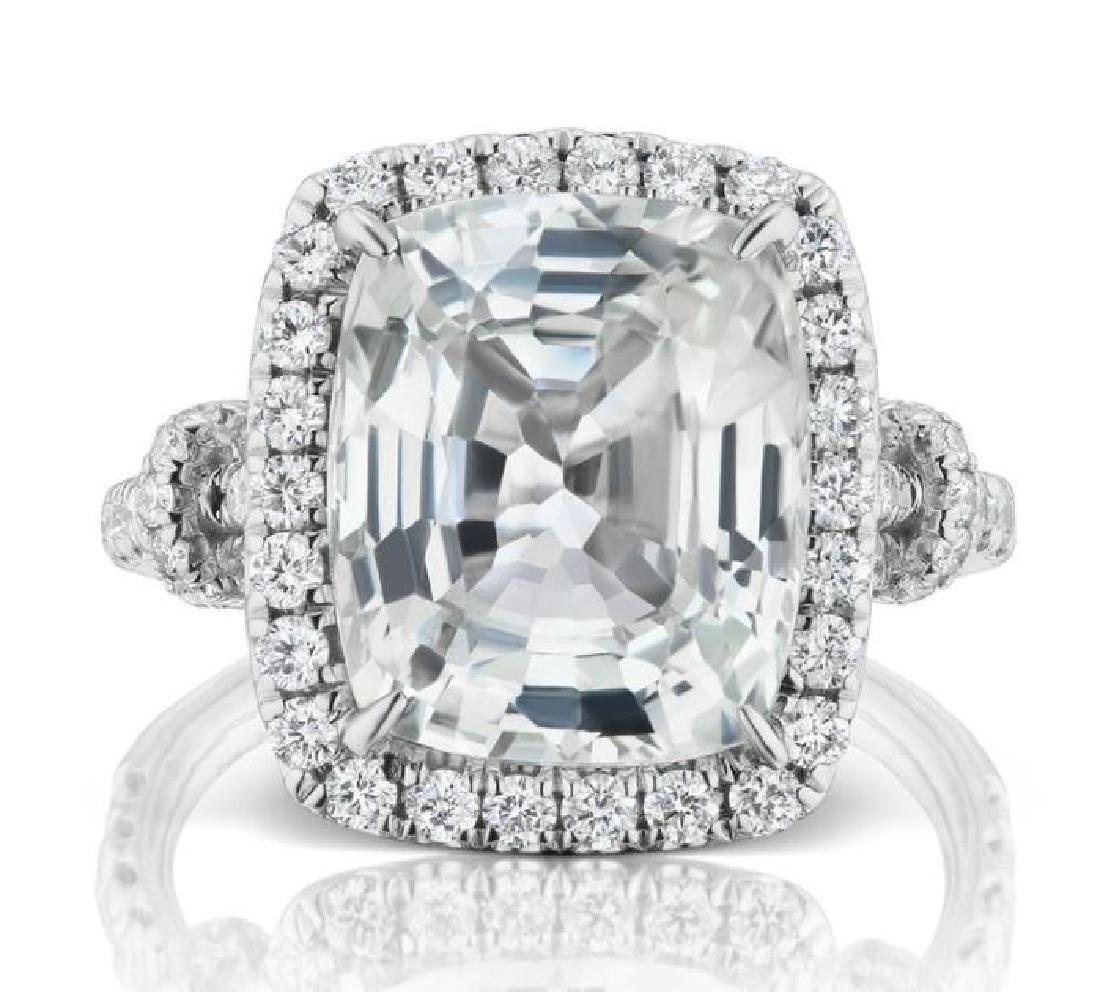 8.15ct YELLOW SAPPHIRE RING DIAMONDS GRS CERT.
