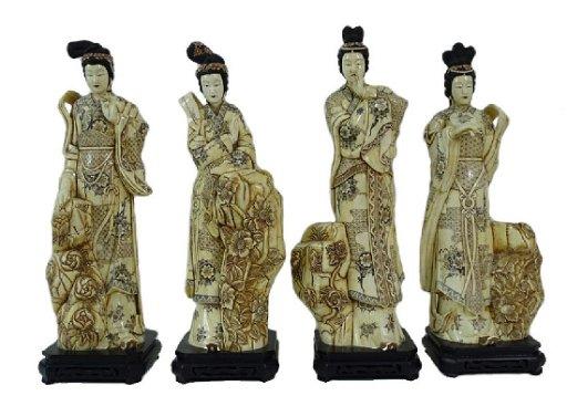 4 Four Chinese Carved Bone Geisha Sculpture May 06 2019 Joshua Kodner In Fl