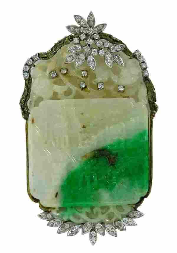 14 Karat Yellow Gold Chinese Jade And Diamond