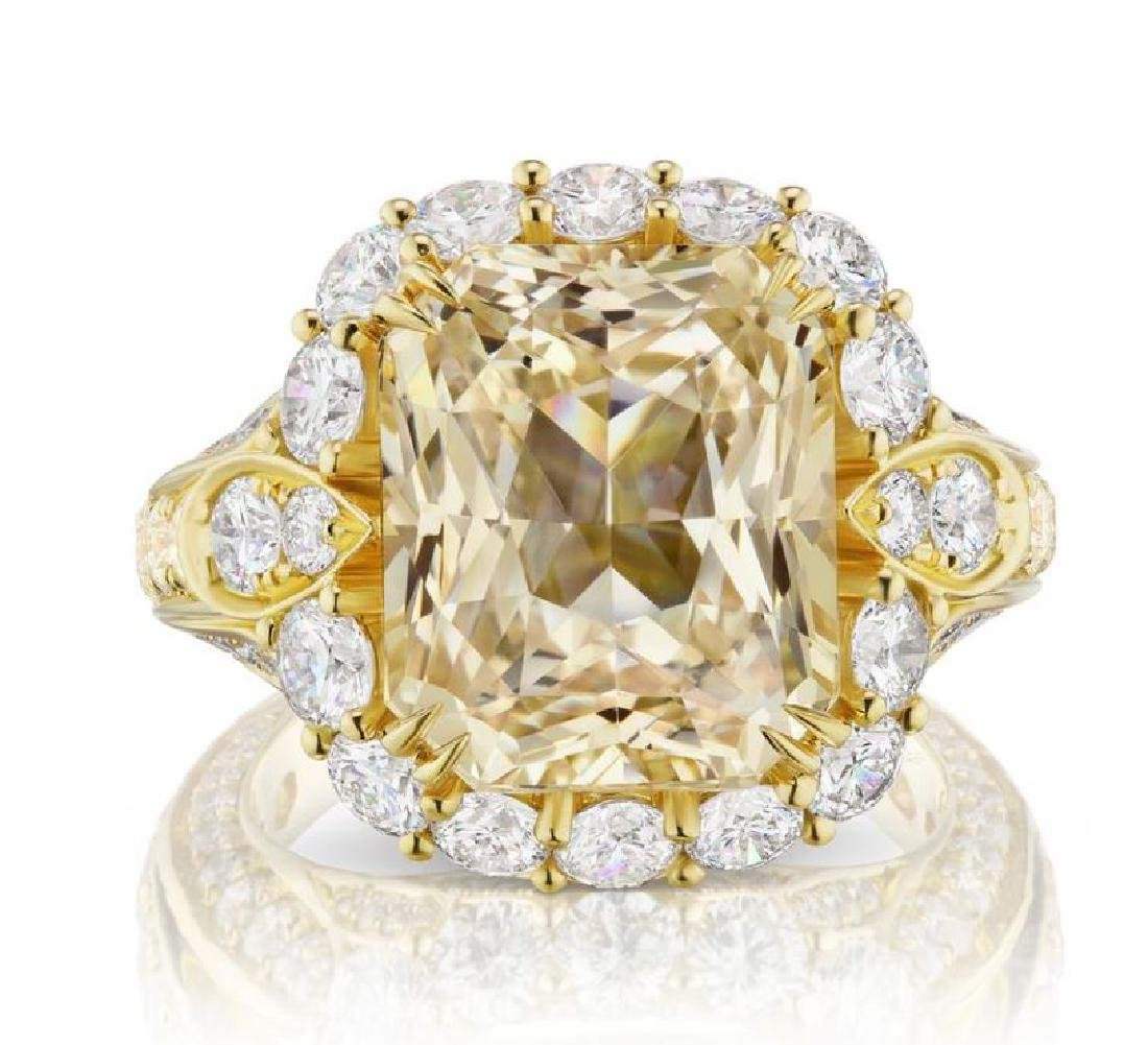 11.98ct YELLOW SAPPHIRE RING DIAMONDS AGL CERT.