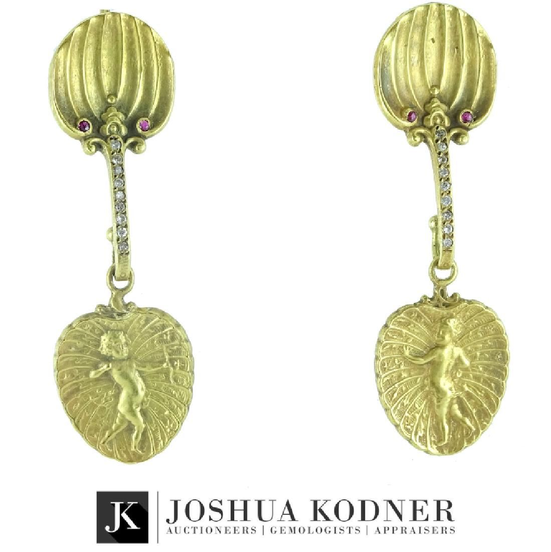 Antique Art Nouveau 14K Gold Ruby Diamond Earrings