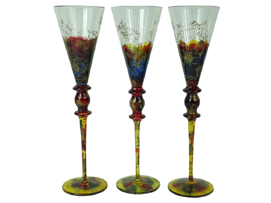 (3) Collection of Three Murano Art Glass Glasses