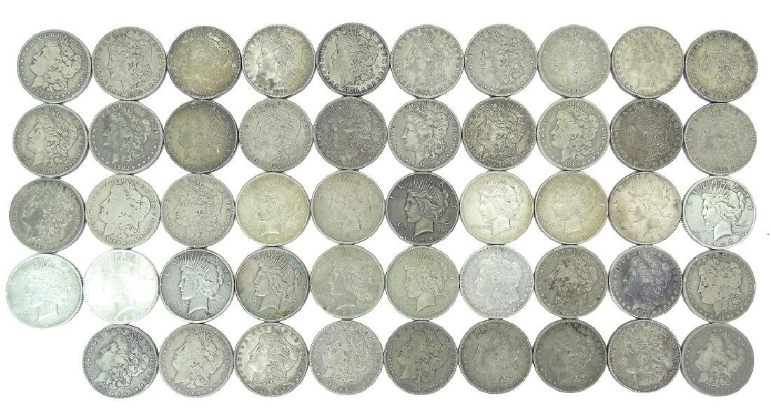 Collection of 49 Morgan and Peace Silver Dollars