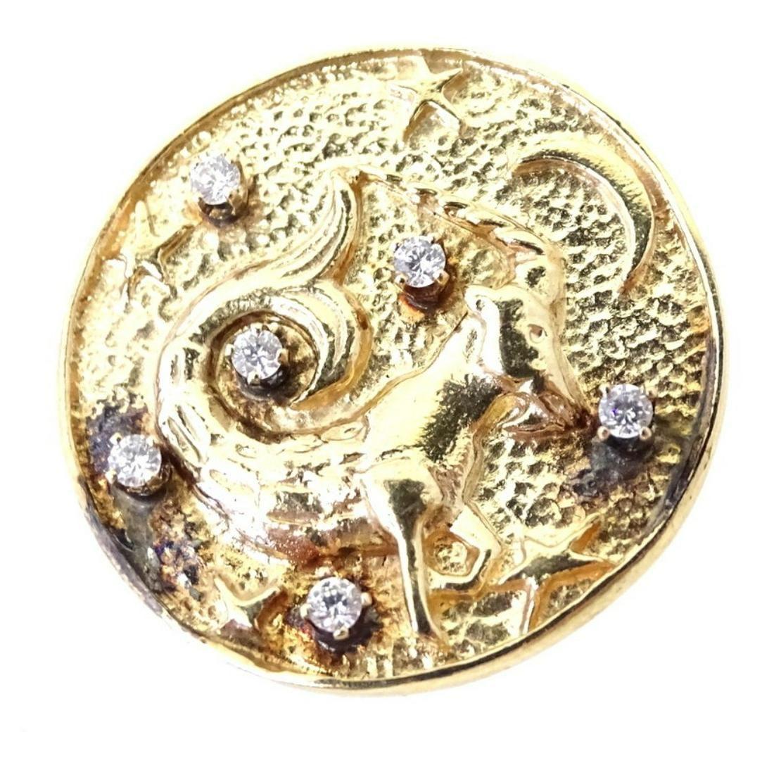 14 Karat Yellow Gold Zodiac Diamond Pendant.